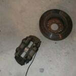 The old caliper and rotor