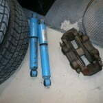 The old caliper and rear shocks