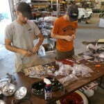 Corey & Jon buffing up chrome pieces for Ed