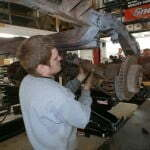Josh removing the rear suspension