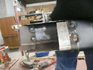 Welded in the sleeves in the customer frame